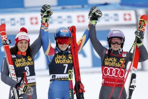 Ski World Cup 2016-2017.Federica Brignone (Ita) Mikaela Shiffrin (Usa) Tessa Worley (Usa). Squaw Valley Califorinia, Usa, 10-3-2017.  Photo:Pentaphoto by Mateimage