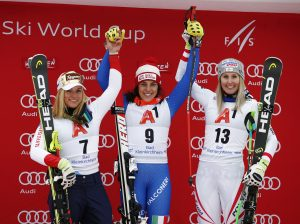 Ski World Cup 2017/2018.   Bad Kleinkirchheim (AUT) 13/01/2018  Federica Brignone (ITA)  Lara Gut (SUI)  Cornelia Huetter (AUT) Photo: Giovanni Auletta/Pentaphoto